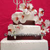 White wedding cake with orchids, and brown trim