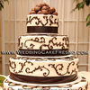 White and chocolate swirl wedding cake