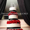 Wedding cakes Fresno, white, red, and black